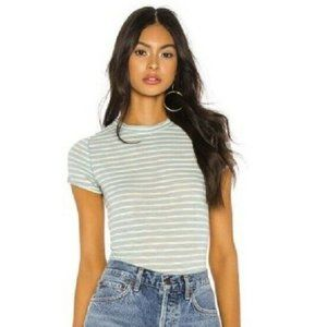 Free People S Sage Green Striped Top NWT AO48